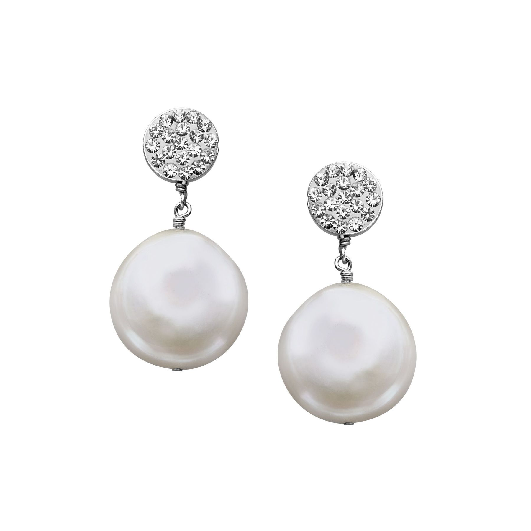 Aya Azrielant Coin Freshwater Pearl Drop Earrings with Swarovski ...