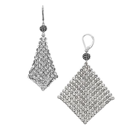 Mesh Earrings With Swarovski Crystals