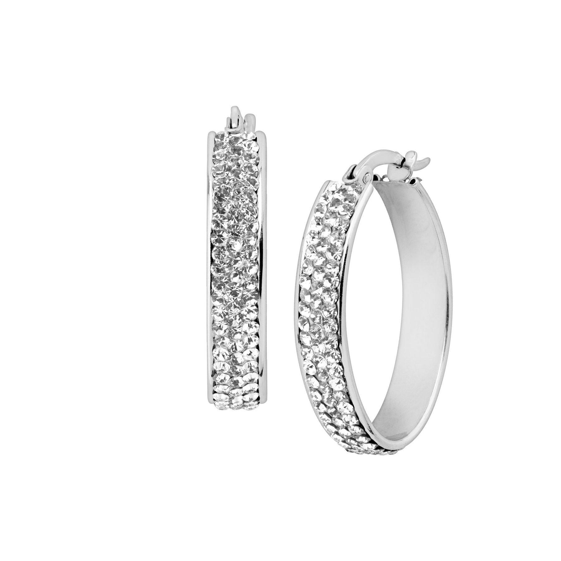 ce202dadb Crystaluxe Oval Hoop Earrings with Swarovski Crystals in Sterling ...