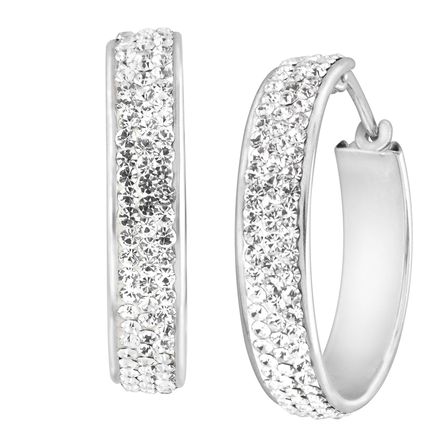 Crystaluxe Hoop Earrings With White