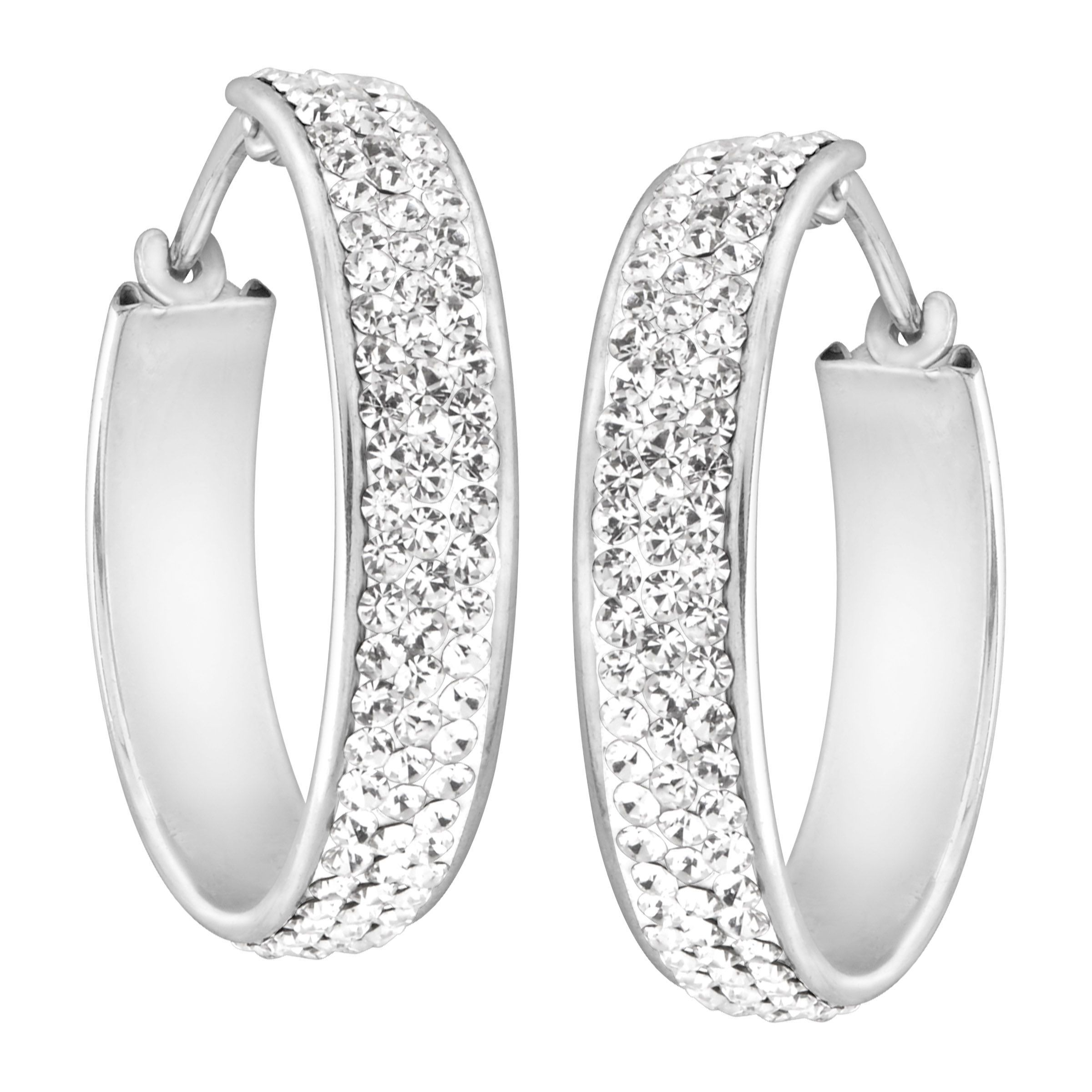 4095717c Details about Crystaluxe Hoop Earrings with White Swarovski Crystals in  Sterling Silver