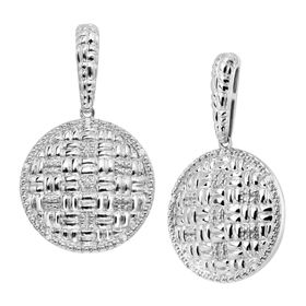 Basketweave Drop Earrings with Diamonds