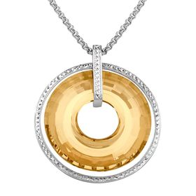 Circle Pendant with Swarovski Crystals