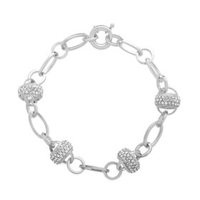 Station Link Bracelet with Swarovski Crystals