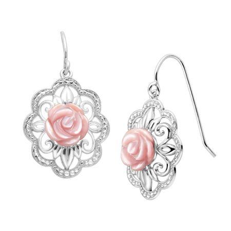 16f6b8d510c07 Pink Mother-of-Pearl Filigree Rose Drop Earrings in Sterling Silver