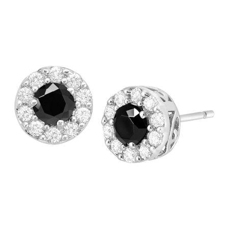 3e74967a5 Black & White Cubic Zirconia Halo Stud Earrings in Sterling Silver ...
