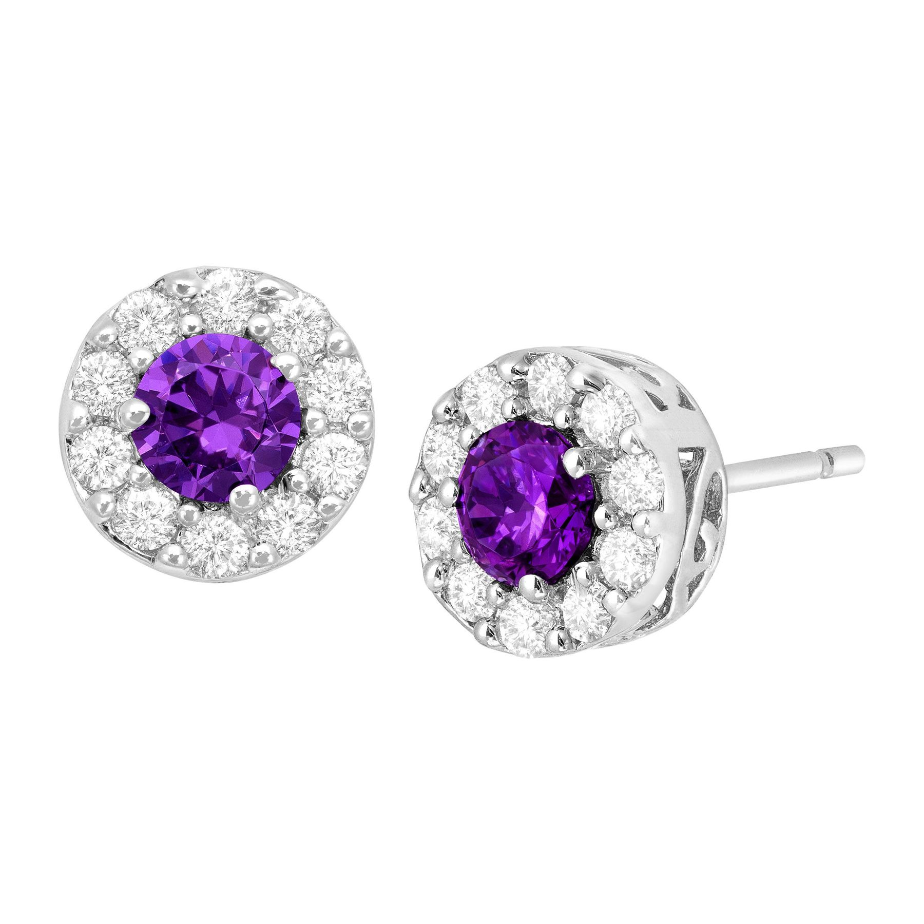 Purple White Cubic Zirconia Halo Stud Earrings