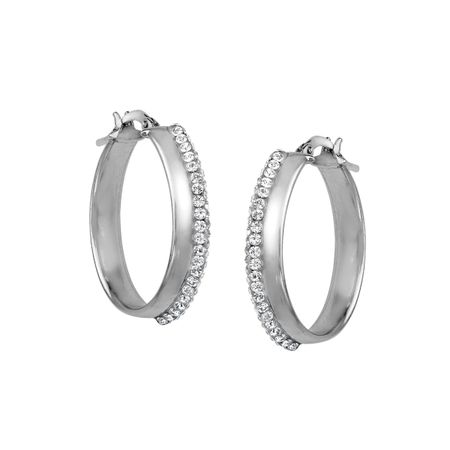 Oval Hoops with Swarovski Crystal