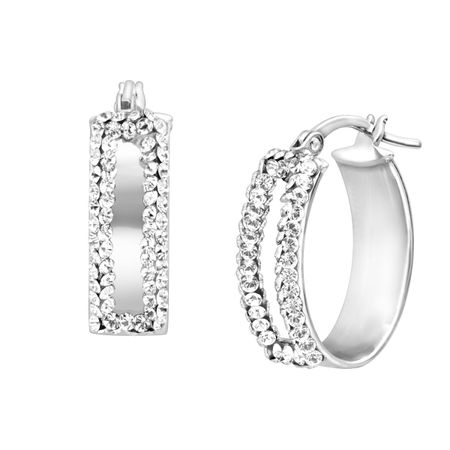 Bold Oval Earrings With Swarovski Crystals