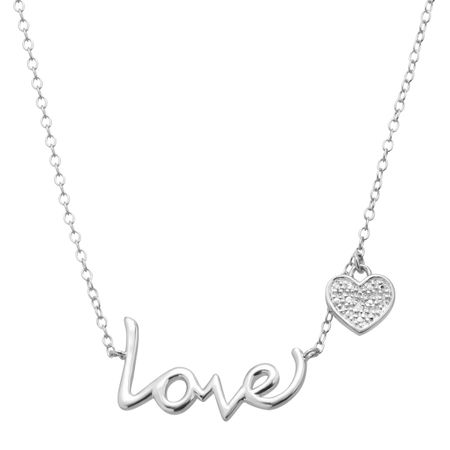 'Love' Necklace with Heart Charm & Diamond