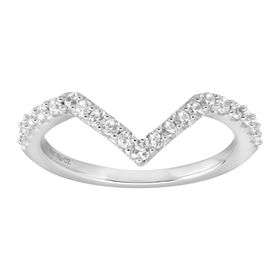 Chevron Ring with White Cubic Zirconia, Silver
