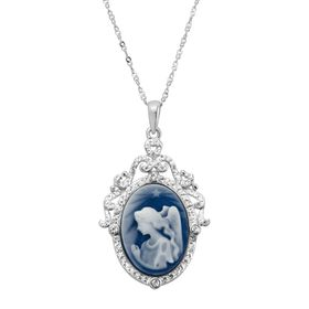 Blue Angel Cameo Pendant with Swarovski Crystals