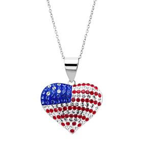 American Flag Puffed Heart Pendant with Swarovski Crystals