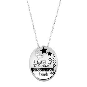 'I Love U 2 the Moon & Back' Pendant with Swarovski Crystals