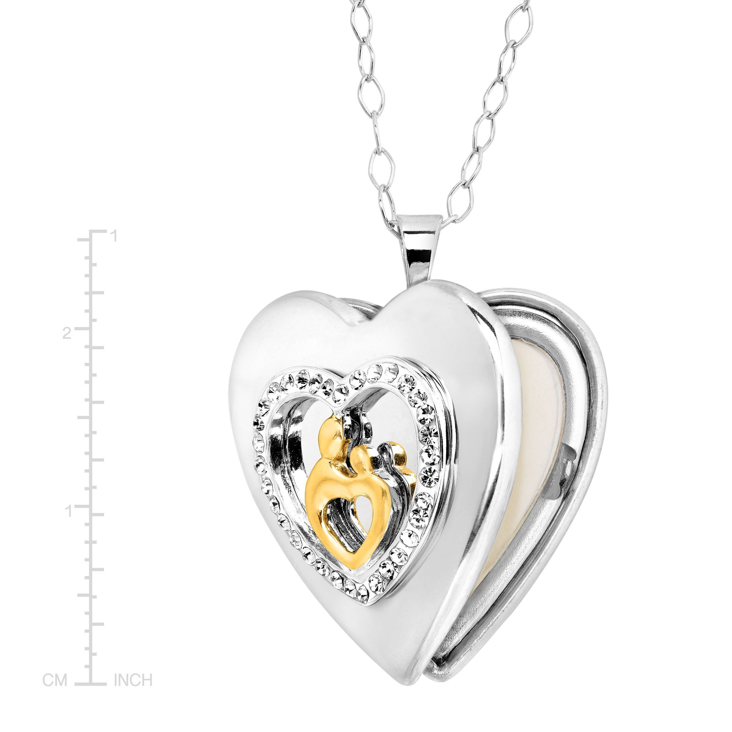 18K White Gold Plated Infinity Mom Love Heart Necklace with Swarovski Crystals