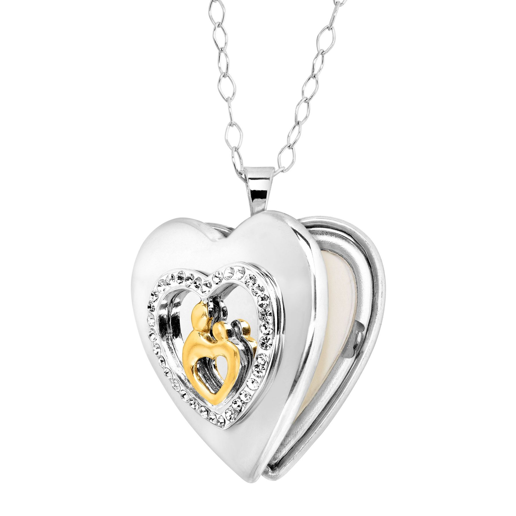 sterling locket plated lockets and crystaluxe with mother child silver crystals in heart swarovski gold jewelry