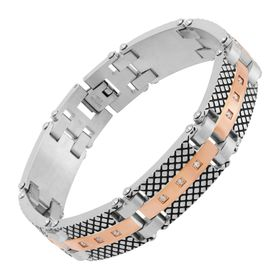 Men's Ribbed Two-Tone Link Bracelet
