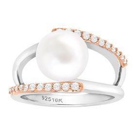 Button Pearl Open Design Ring with Cubic Zirconia