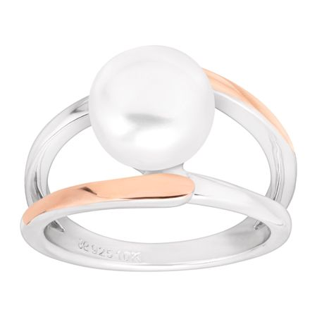 Button Pearl Two-Tone Ring