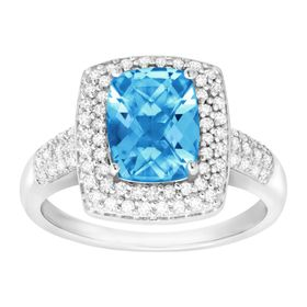 2 1/5 ct Swiss Blue Topaz & 1/3 ct Diamond Ring