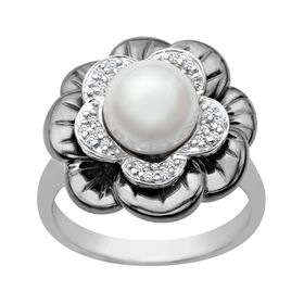 8mm Pearl & Diamond Flower Ring