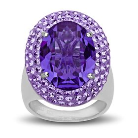 Ring with Purple Swarovski Crystals
