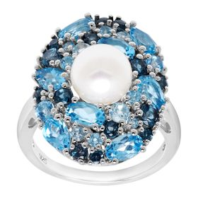 Pearl & 3 3/4 ct Blue Topaz Cocktail Ring