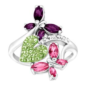 Butterfly & Leaf Ring with Swarovski Crystals