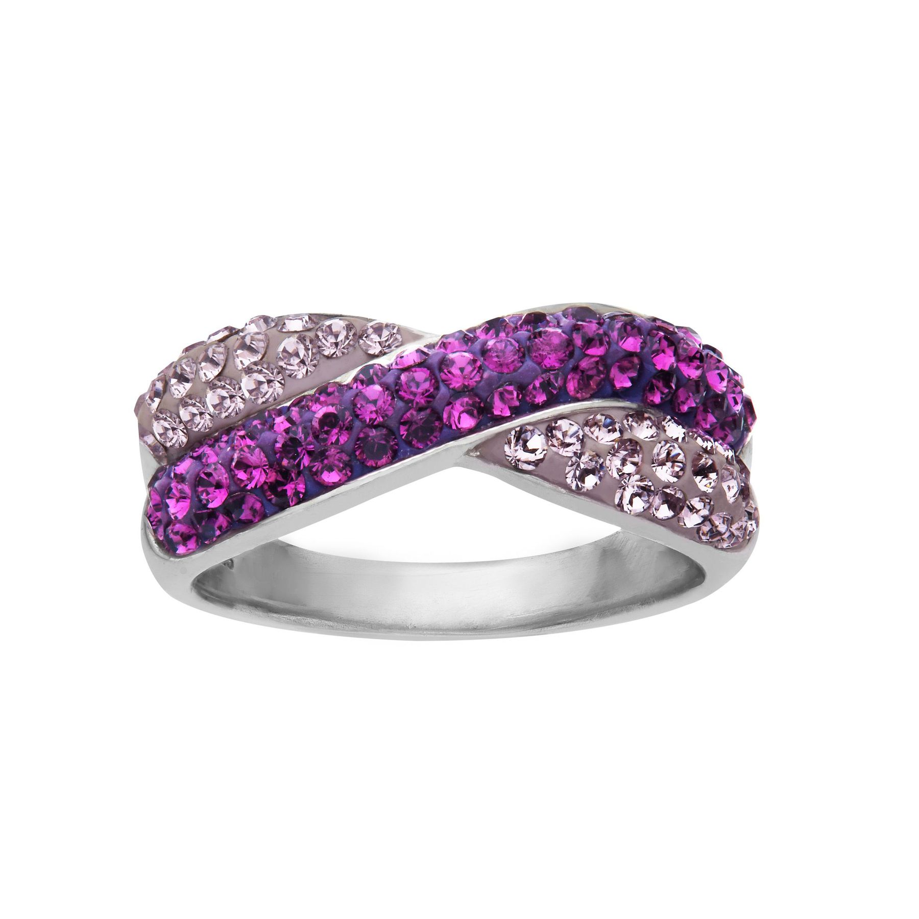 14d787201 Criss-Cross Band Ring with Violet & Lilac Swarovski Crystal in ...