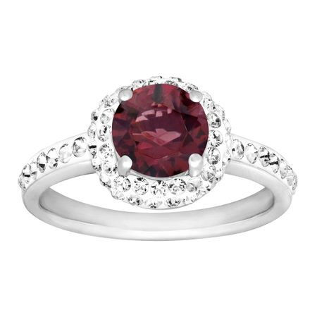 January Ring with Burgundy Swarovski Crystal