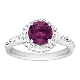 February Ring with Purple Swarovski Crystal
