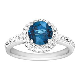 September Ring with Royal Blue Swarovski Crystal