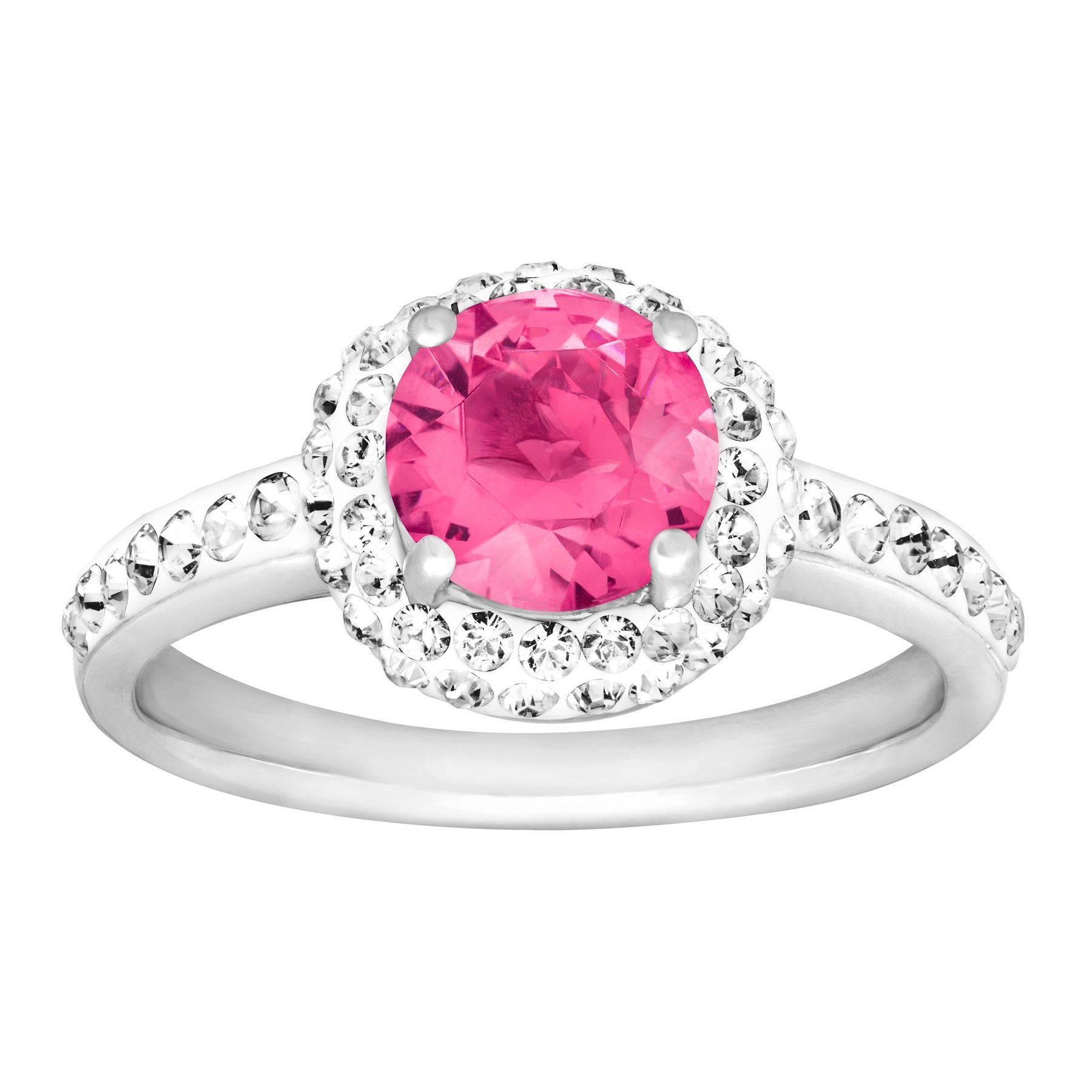 be85c9616 Crystaluxe October Ring with Pink Swarovski Crystals in Sterling ...