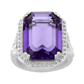 Ring with Purple & White Swarovski Crystals