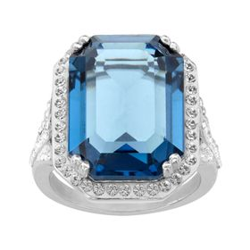Ring with Blue & White Swarovski Crystals