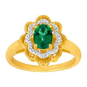 7/8 ct Emerald Ring with Diamond