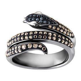 Snake Ring with Black & Silver Mist Swarovski Crystals