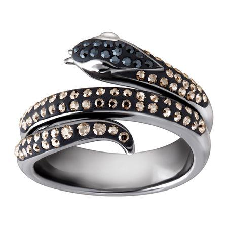 crystaluxe snake ring with black silver mist swarovski