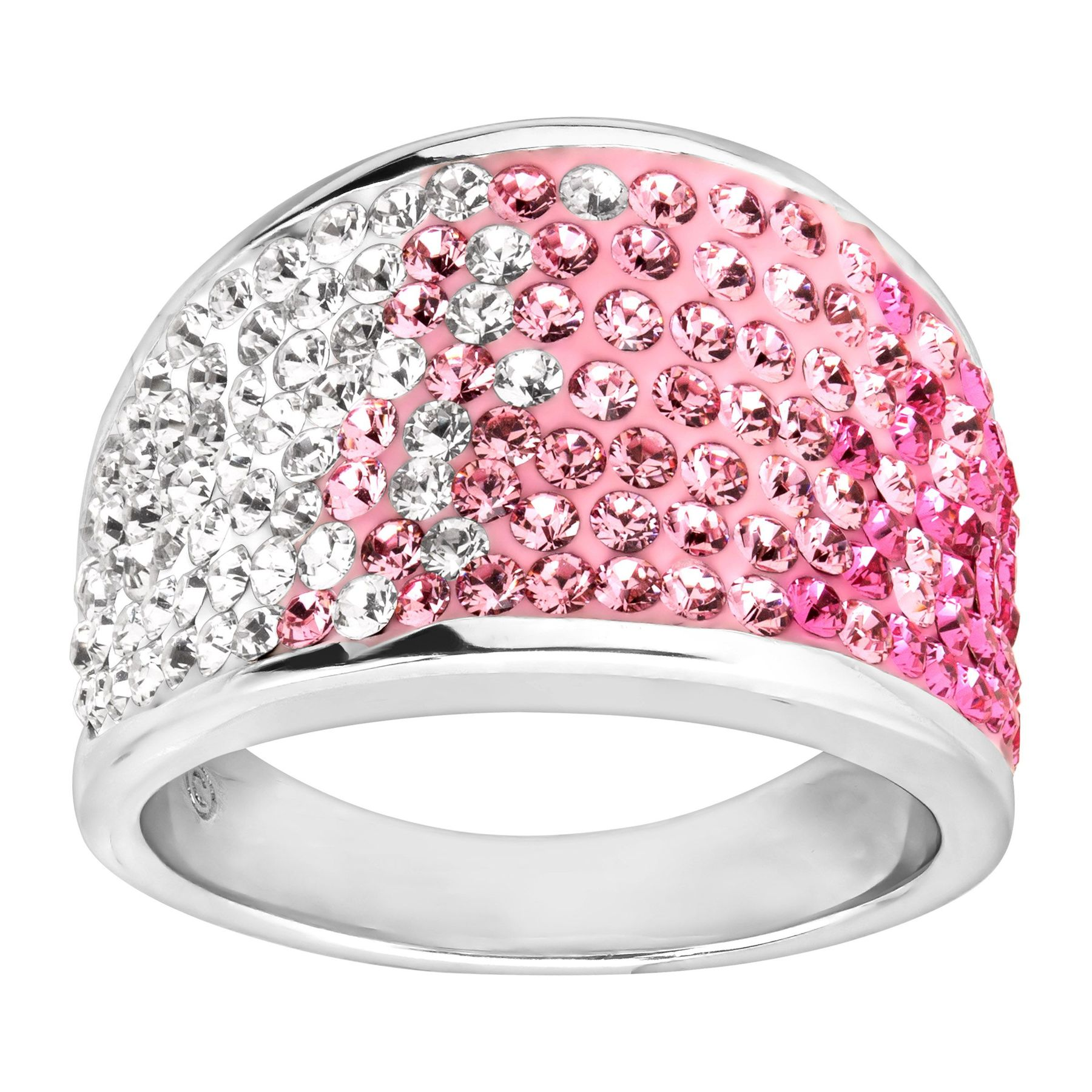 f0f6b02ae5941 Pink Gradient Dome Ring with Swarovski Crystals in Sterling Silver