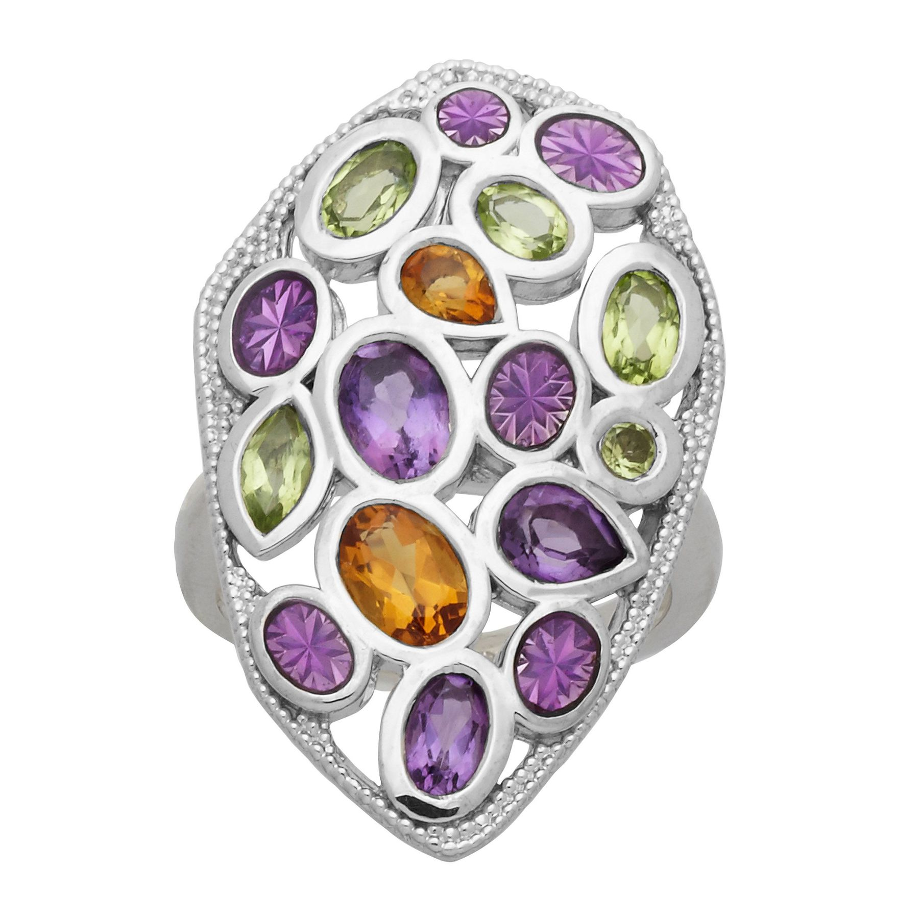 Citrine /& Amethyst Mosaic Ring in Sterling Silver 2 1//2 ct Natural Peridot