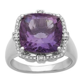 6 ct Amethyst & 1/5 ct Diamond Cushion Ring