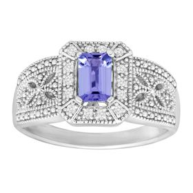 1/2 ct Tanzanite & White Topaz Ring