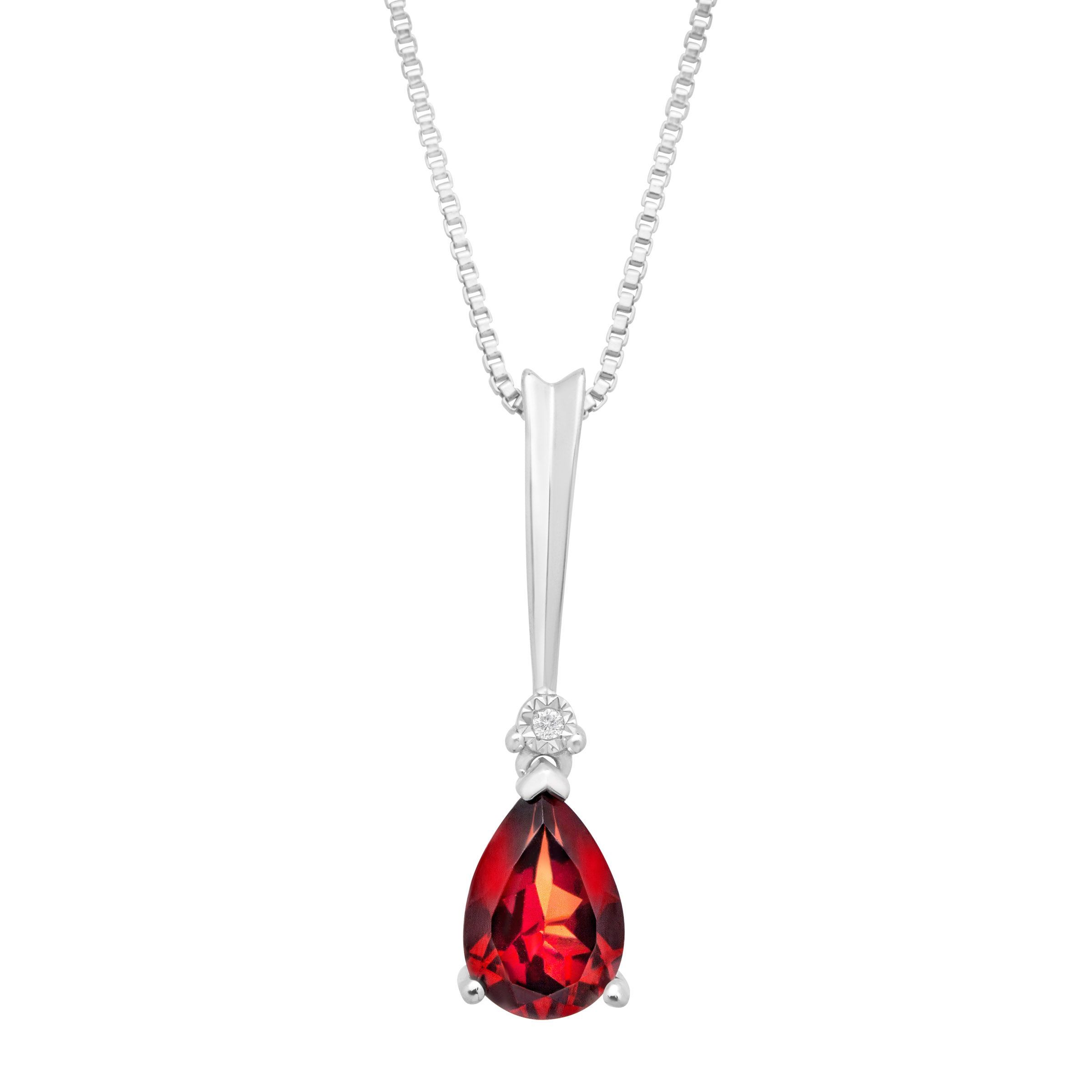 plated red tcw necklace cut garnet cubic gold square and cross pendant genuine zirconia