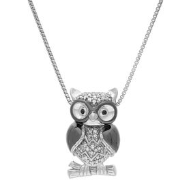 1/10 ct Diamond Perched Owl Pendant