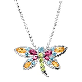 2 1/6 ct Multi-Stone Dragonfly Pendant