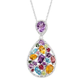 Rainbow Multi-Stone & 1/5 ct Diamond Teardrop Pendant