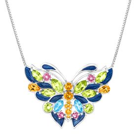 4 1/6 ct Multi-Stone Butterfly Pendant