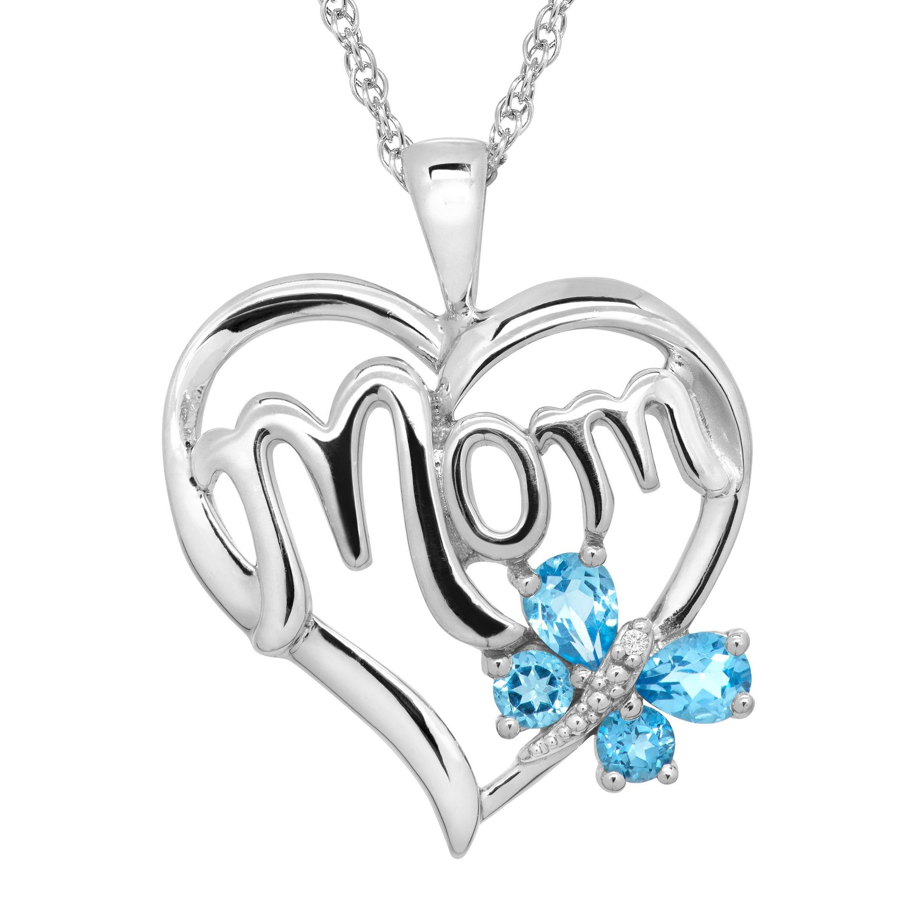 Finecraft 1/2ct Swiss Blue Topaz Mom Heart Pendant w/Diamond