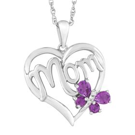 3/8 ct Amethyst 'Mom' Heart Pendant with Diamonds