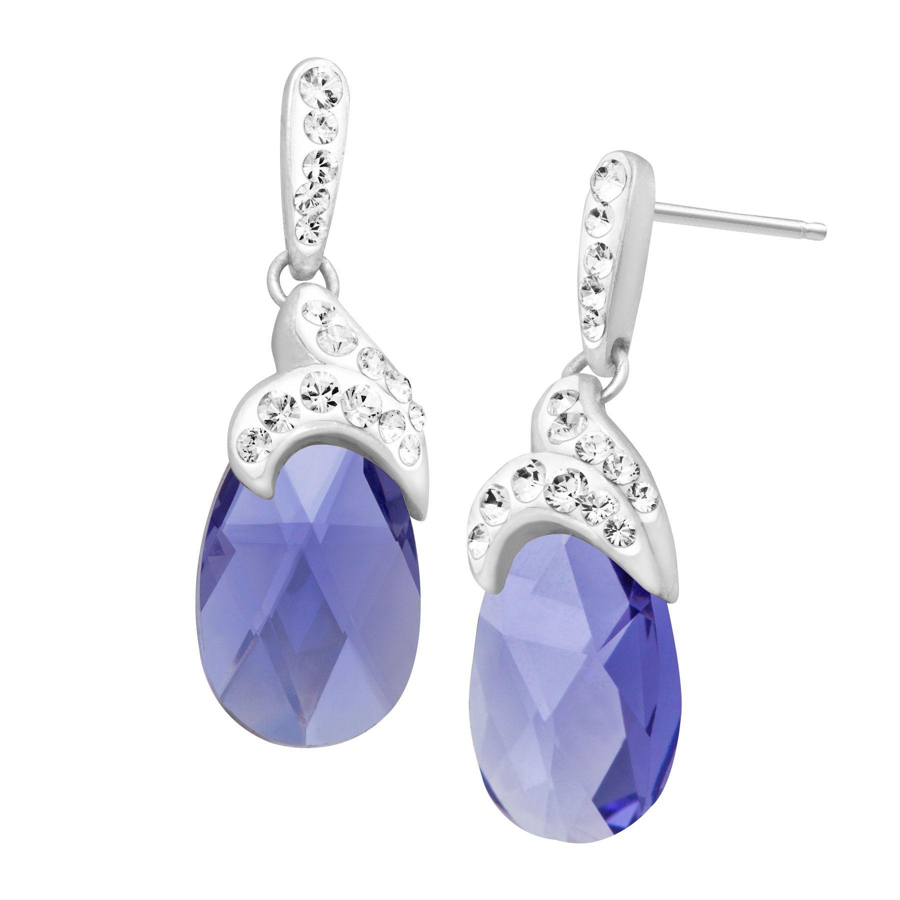 Drop Earrings With Lavender Swarovski Crystal In Sterling Silver